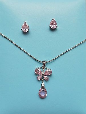 Fashion Butterfly CZ Crystal Pendant Necklace with Matching Earring N1234
