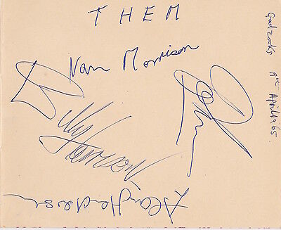 VAN MORRISON & THEM 1965 Band Signed Autograph Book Page WITH LIFETIME GUARANTEE