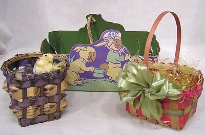 Vintage LOT Three Early Easter Baskets Stiff Paper & Woven Bunny Graphics 1930s