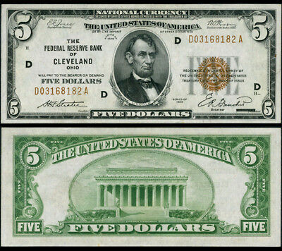FR. 1850 D $5 1929 Federal Reserve Bank Note Cleveland Choice CU+
