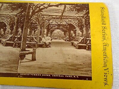Stereoview Card American Views Rustic Summer House Central Park NY New York