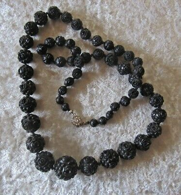"Hand Knotted On Hemp 32"" Graduated Hand Formed Black Floral Beads"