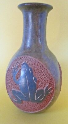 Excellent Hand Thrown and Carved With Frogs Ceramic Vase Signed With Flair