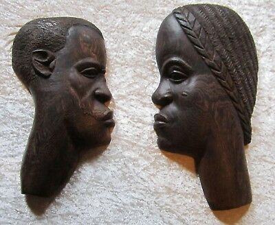 "Pair of Stately Hand Carved Wooden African Profiles 16 & 18"" Tall"
