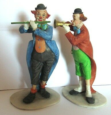 "Pair Of 6.5"" Dated 1989 Signed f. d. Musician Clowns from Giftcraft"
