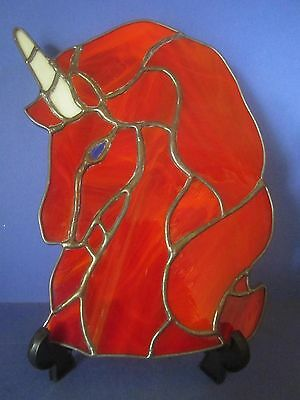 Excellent Fire Red Stained Glass Unicorn To Hang or Display