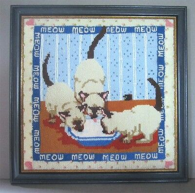 Meow Meow Meow Marvelous Framed Needlepoint Siamese Cats and Cream