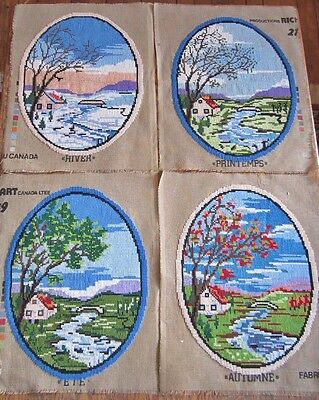 Set of 4 Seasons Oval Cross Stitched Wool Tapestries