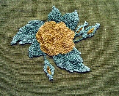 Charming Hand  Hooked Floral  on Avocado Green Burlap