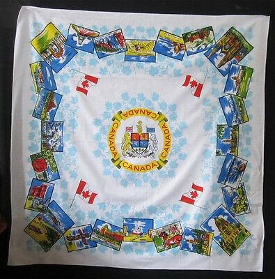 Fabulous Vintage Table Cloth With Scenes From Across Canada Coast to Coast