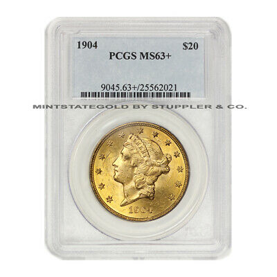 1904 $20 Liberty PCGS MS63+ plus graded Gold Double Eagle Choice Philadelphia