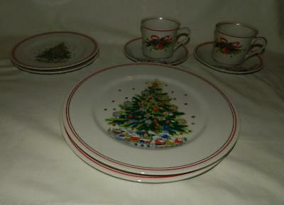 8 pc Salem China Christmas Eve Red Trm Dinner Salad Plates Cups Saucers Free Shp
