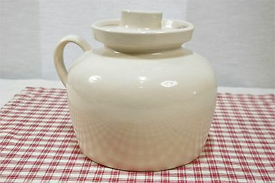 Vintage R.R.P. Co. Roseville Cream Stoneware Crock Bean Pot W/Handle + Lid Exc.