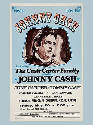 "Johnny Cash Cedar Rapids 16"" x 12"" Photo Repro Concert Poster"