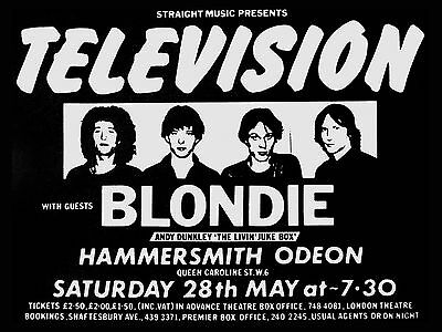 """Television / Blondie Hammersmith 16"""" x 12"""" Photo Repro Concert Poster"""