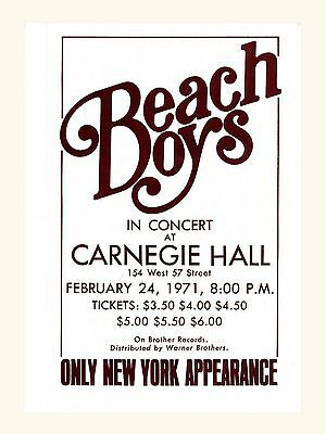 """The Beach Boys Carnegie Hall 16"""" x 12"""" Photo Repro Concert Poster"""