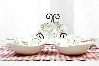 LOT of 5 VERY RARE Grindley ROMANCE Oval Soup Bowls, Green Ivy Leaves EXC!