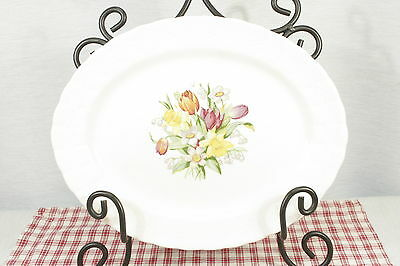 """Solian Ware Vintage Floral, Tulips, daffodils, 12 1/4"""" Platter   VGC"""