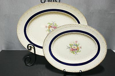 """2 Platters Woods Burslem England SELSTON BLUE 11"""" and 14""""  Exc+ Condition!"""