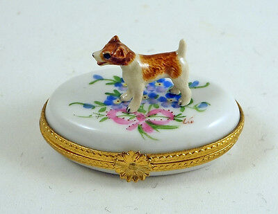 New French Limoges Trinket Box Cute Jack Russell Terrier Dog In Beautiful Garden