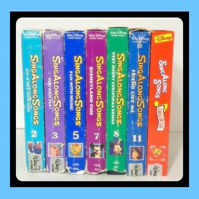 ❤️Lot of 7 Disney Sing Along Songs VHS Tapes CHRISTMAS DISNEYLAND YOU CAN FLY +