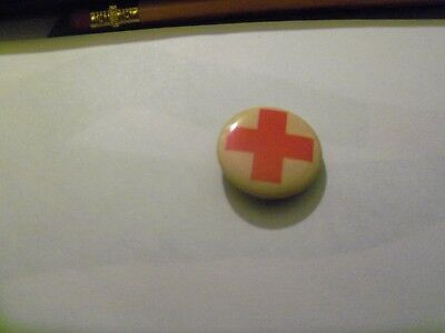 """Red Cross  on White Pin  7/8 """""""