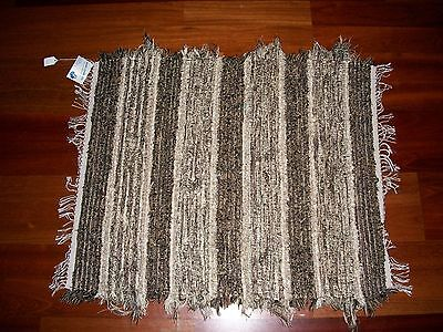 Amish Loom Rug Dark Browns with White Brown Fringe 38 Inch Rectangle