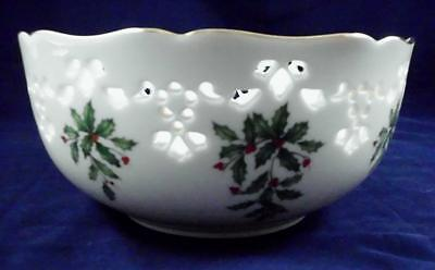 Lenox Holiday Holly Berries Pierced Round Christmas Bow 24K Gold Trim