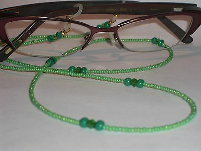 "Beaded Eyeglass Chain~ NEW~Grass Green~Crystal Accents~28""~Buy 3 SHIP FREE"