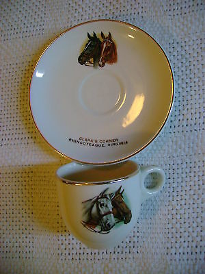 Clark's Corner CHINCOTEAGUE VA mini cup & saucer  with horse