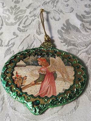 Angel Dresden Ornament  - Victorian Style - Vintage Dresdens/crystals