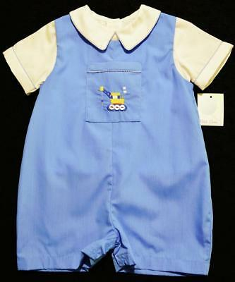 Petit Ami Boys Blue Two Piece Shortall With Embroidered Crane Truck~12M,18M~Nwt