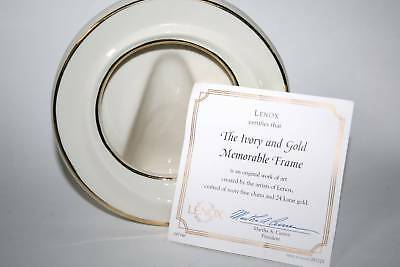Lenox Round Cream and Gold Memorable Frame MIB w/Certificate  #1427