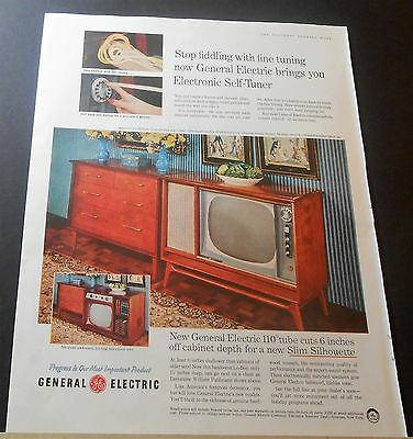 1957 General Electric Slim Silhouette Tv Electronic Self-Tuner Advert