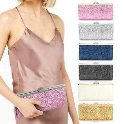 Women Ladies Evening Glitter Prom Handbag Wedding Evening Party Clutch Bag Purse