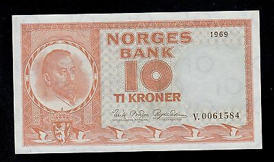 NORWAY  10  KRONER 1969  V  PICK # 31d UNC.