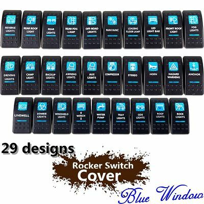 Blue Window Labeled Led Arb Rocker Switch Cover Cap Only Boat Car Truck Carling