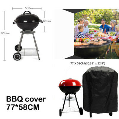 Round Black Waterproof Outdoor Garden Kettle Barbecue BBQ Chimney Grill UV Cover