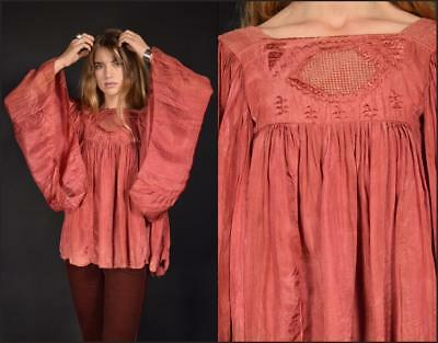 Vtg antique rose EMBROIDERY draped afghanistan ANGEL SLEEVE hippie tent blouse M