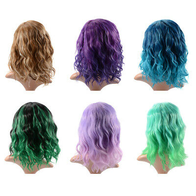 Medium Wig 35cm Curly Wave Ombre Heat Resistant Synthetic Lolita Hair with Cap