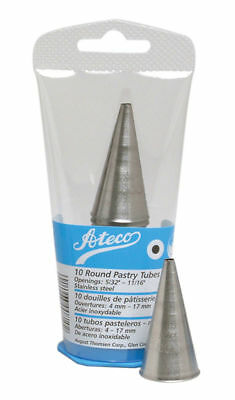 Ateco 10 Piece Plain Pastry Tube Set with Plastic Case - Stainless Steel