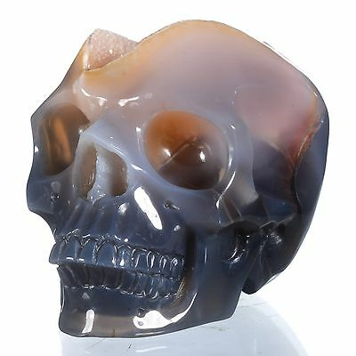 "3.58"" Natural Geode Agate Hollowed Skull carving,Collectibles#24Q74"