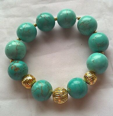 TURQUOISE GEMSTONE BRACELET 15mm BEADS WITH GOLD PLATED FEATURE BEADS UK SELLER