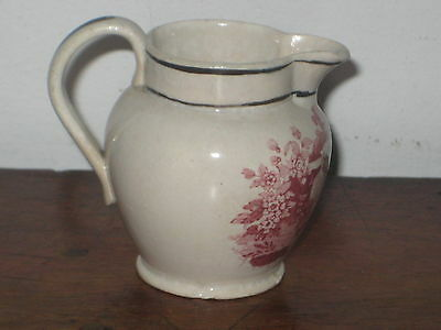 Antique Children Jug Pink Transfer Decoration Lady Flowers ++ Cir Early 19Th C