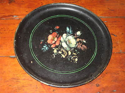 19Th Century Paper Mache Painted Flowers Platter