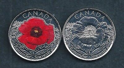 Canada Remembrance Day Red 2015 Poppy Quarter 25 Cent Coloured and Plain