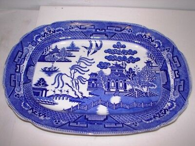 """antique large 18"""" blue willow platter Wedgwood & Co (warranted) Staffordshire"""