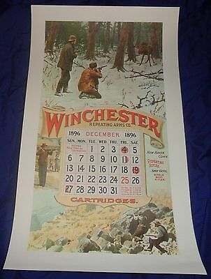 BR1960 WINCHESTER Circa 60's Dec. 1896 Calendar A.B. Frost NOS shipped rolled