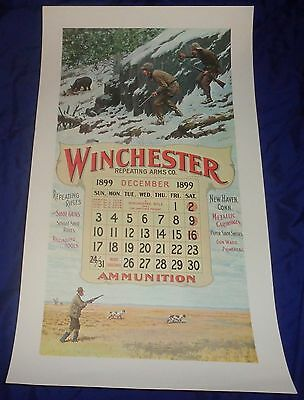 BR1962 WINCHESTER Circa 60's Dec. 1899 Calendar A.B. Frost NOS shipped rolled