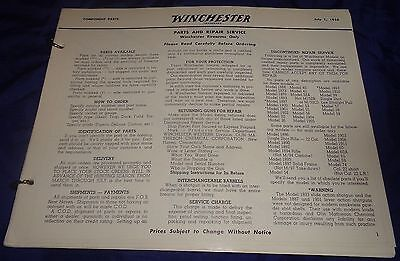 BR1966 WINCHESTER 1956 Price List Component Parts Sights Accessories 104 pgs NOS